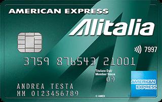 Carta di credito American Express Verde Alitalia di esempio intestata ad Andrea Testa