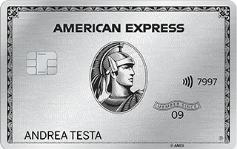 Carta di credito American Express Platino di esempio intestata ad Andrea Testa