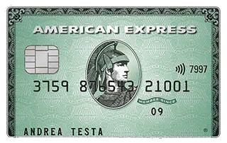 Carta di credito verde American Express di esempio intestata ad Andrea Testa