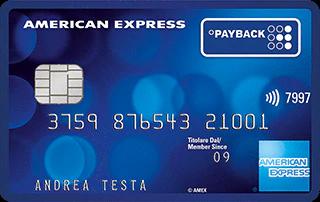 Carta di credito American Express Payback blu scuro di esempio intestata ad Andrea Testa