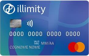 Carta di credito blu Illimity Bank di esempio con linee blu scuro