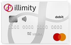 Carta di debito IIllimity Bank di esempio bianca con linee grigie