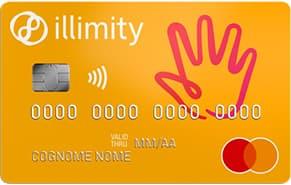 Carta prepagata Illimity Bank di esempio colore giallo con mano rossa in alto a destra